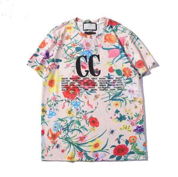 Top Designer mens T-shirts luxury floral print T-shirt popular hip hop Loose leisure men and women tee