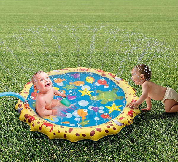 Sprinkle and Splash Play Mat Durable PVC Eco-Friendly Material 40In Splash Pad Sprinkler Cushion Water Park for Baby Children Outdoor