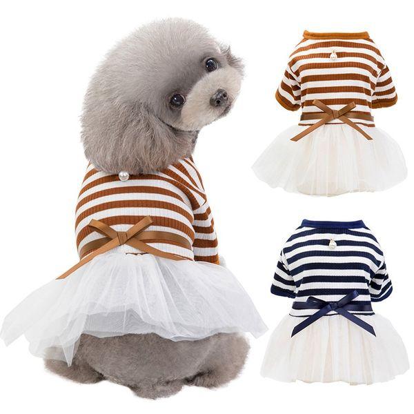 Pet Dog Stripes Pérolas Gaze Tutu Vestido de Saia Filhote de Cachorro Gato Vestido de Princesa Roupas de Algodão Mangas Curtas T-shirt Vestuário