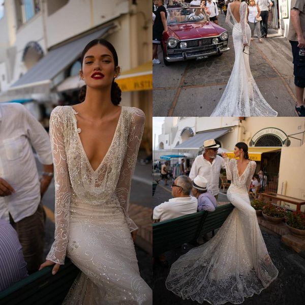 인발 인 Dror 2019 웨딩 드레스 V 넥 스팽글 레이스 인어 신부 드레스 긴 소매 등이없는 해변 웨딩 드레스 맞춤 제작