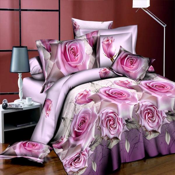 4 قطع الملك الحجم الفاخرة 3d روز مجموعات الفراش الأحمر اللون أغطية المعزي غطاء مجموعة ورقة السرير المخدة لحفل الزفاف