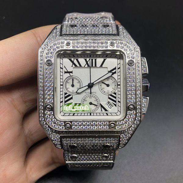 Diamante de gelo dos homens novos relógio de pulso caso de diamante relógios de aço inoxidável relógio com diamantes cinta multifunções de quartzo relógio à prova d 'água peso 225g