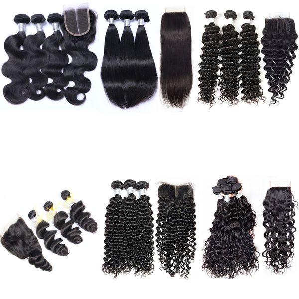 8a brasilianische reine haarwebart 3 bundles mit lace closure unverarbeitete menschenhaar körperwelle gerade tiefes lockiges wasser nass und wellig verschlüsse