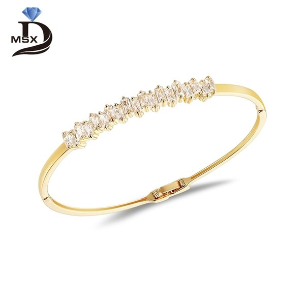 Crystal CZ Stainless Steel Bangles Bracelets for Woman Silver Gold color Luxury Brand Wedding Party Jewellery Lover's Gift C19010401