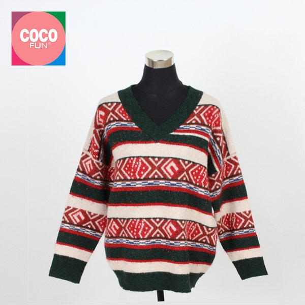 2019 Female Autumn Winter Sweater Colorful Lurex Yarn Knitting V-Neck Full Sleeve Geometric Pattern Body Tops Sweater COCOFUN