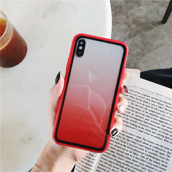 For iphone 11/XS Max candy rainbow gradual change cell phone case iphone 8/7P transparent acrylic soft new arrivals
