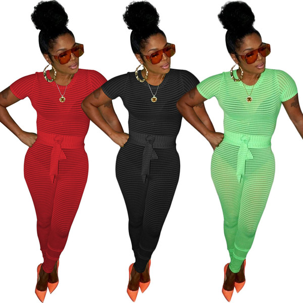 Women Knit Short Sleeve Jumpsuit Sexy Solid Hollow Lycra Skinny Club Bodysuit Slim Playsuit Red Green Black with Sash
