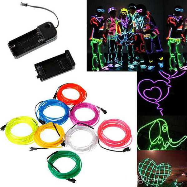 3M Flexible Neon Light Glow EL Wire Rope Tube Flexible Neon Light 8 colores Car Dance Party Costume + Controller Christmas Holiday Decor Light