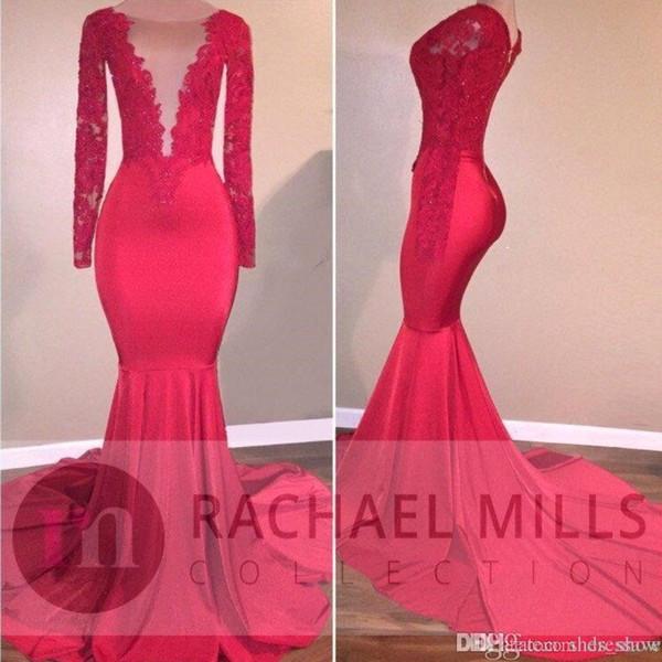 Afrikanische Rote Meerjungfrau Illusion Prom Party Kleider 2019 Formale Abend Celebrity Kleider Tiered Rüschen Zug Lange Ärmel Benutzerdefinierte