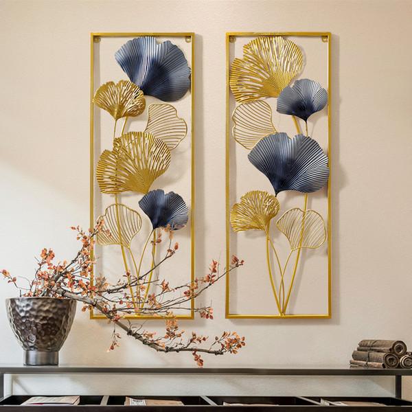 Nouvel An chinois en fer forgé de feuille de Ginkgo Autocollants muraux Crafts Accueil Livingroom Papier peint Ornements Hôtel Tentures Art Décoration
