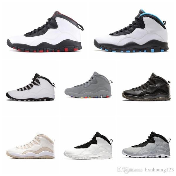 Nike Air Jordan Original AJ AJ10 Atacado Barato 10 Sapatos ao ar livre Top Quality 10 s Touros Sobre Broadway Sneakers Zangões Cidade Pacote Vivid Rosa Calçados Esportivos 28 36 47