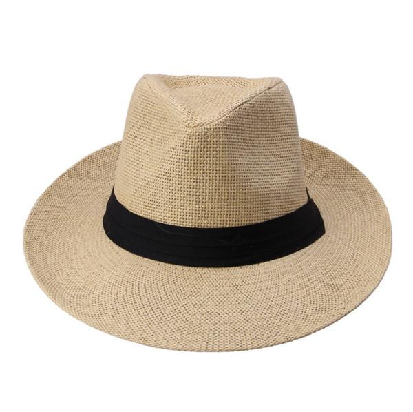Chaude Mode D'été Casual Unisexe Plage Trilby Grand Bord Jazz Chapeau De Soleil Panama Chapeau Papier Paille Femmes Hommes Casquette Avec Ruban Noir D19011103