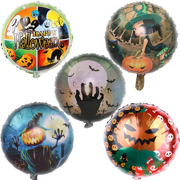 18 pulgadas inflables globos de fiesta de calabaza de Halloween decoraciones globo de película de aluminio niños fantasma cráneo imprimir globos juguetes suministros C862