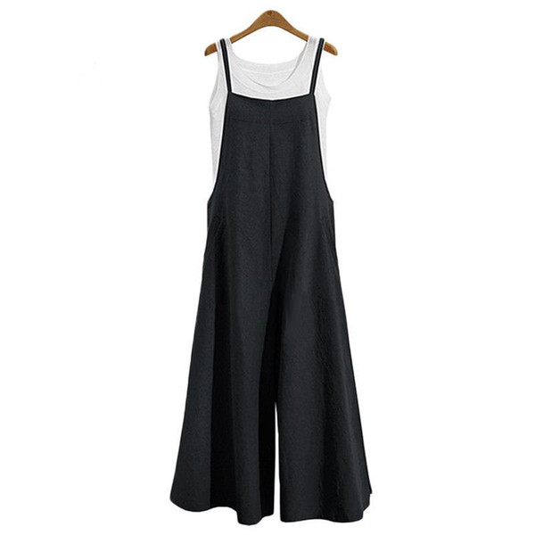 Plus Size S-3xl Women Cotton Linen Pocket Long Wide Leg Romper Strappy Dungaree Bib Overalls Casual Loose Solid Jumpsuit