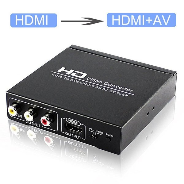 10set HDMI ad HDMI e RCA AV CVBS composito Support Adapter Out Video Audio Converter 1080P Zoom In Out PAL NTSC