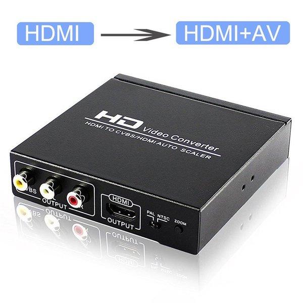 10set HDMI к HDMI и AV RCA CVBS Композитный Поддержка Выход Видео Аудио конвертер адаптер 1080P Увеличить Выход PAL NTSC