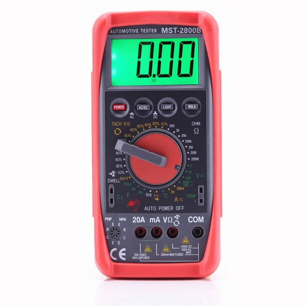 MST-2800B Automotive Meter Tester Digital Multimeter Tachometer Cap Temp Sensor W LCD Backlight Professional Tester