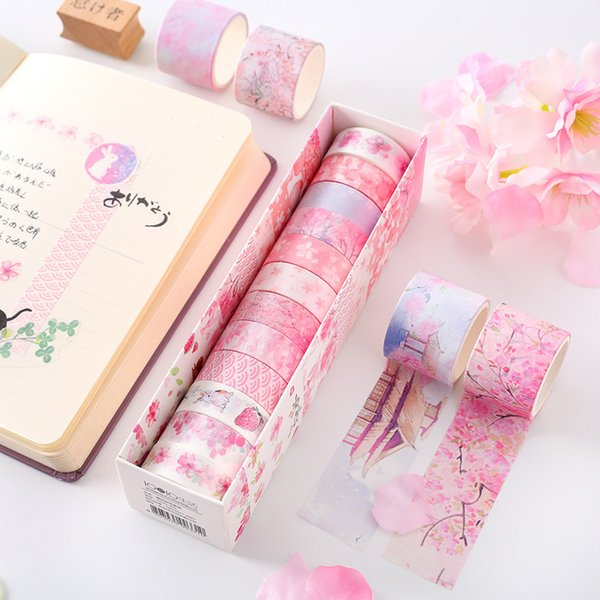 6/12 Pcs / set Washi Ruban De Masquage Autocollants Scrapbooking Cinta Adhesiva Decorativa Washitape Bant Adhésif Fleur Solide C19041701