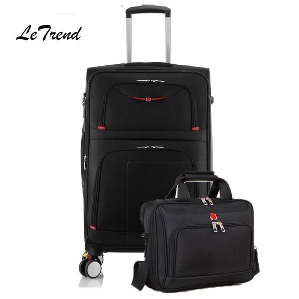 Letrend Rolling Luggage Set Spinner Multifunzione Trolley Valigie Ruota da viaggio Borsone Business Borsa per portatile Borsa password