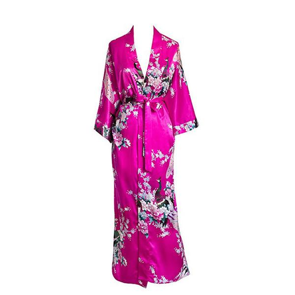 Plus Size Xxxl Donne cinesi Long Robe Stampa Fiore Peacock Kimono Accappatoio Abito da sposa Abiti da damigella d'epoca Sleepwear sexy