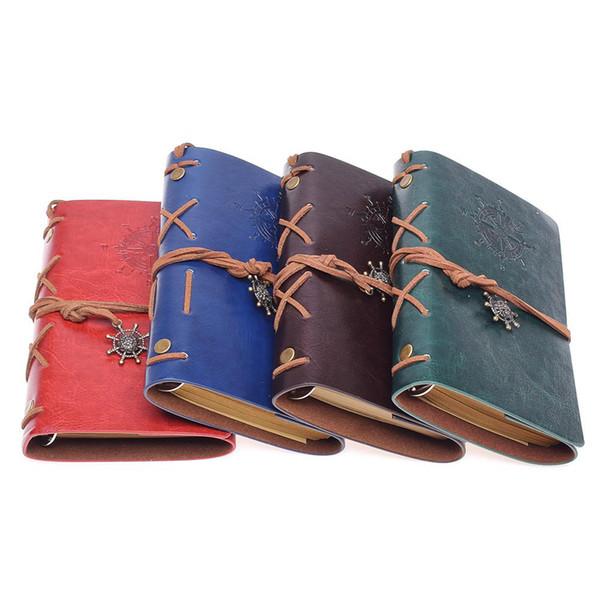 Cahier à spirale agenda bloc-notes vintage pirate ancres cahier en cuir PU remplaçable papeterie cadeau journal de voyageur