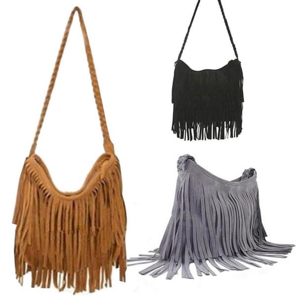 Wholesale-Fashion Womens Suede Weave Tassel Shoulder Bag Messenger Bag Fringe Handbags