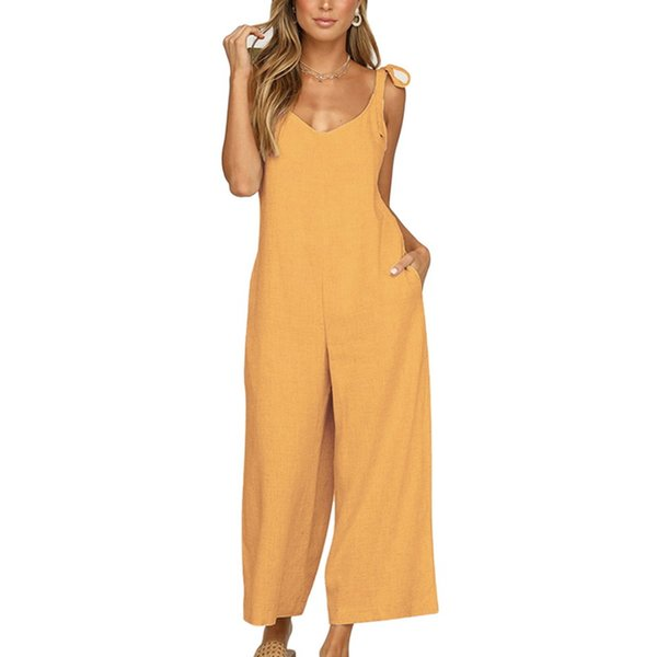 Laamei 2019 Spring Summer Four-color Fashion Loose Jumpsuit Long Wide Leg Romper Strappy Casual Pocket Ladies Vacation Jumpsuit