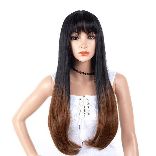 Perruque de cheveux Ombre R2 / 30 couleur droite avec des cheveux synthétiques Bangs 70CM avec des perruques synthétiques de fibre haute température de cheveux sans perruque