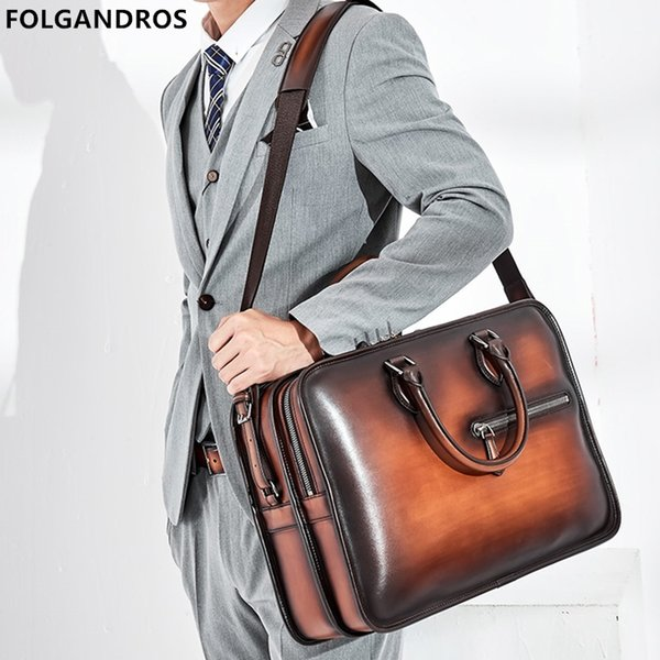 2019 Italy Genuine Leather Briefcases For Men Handmade 15 Inch Laptop Case Office Work Business Double Zipper Open Shoulder Bag #208850