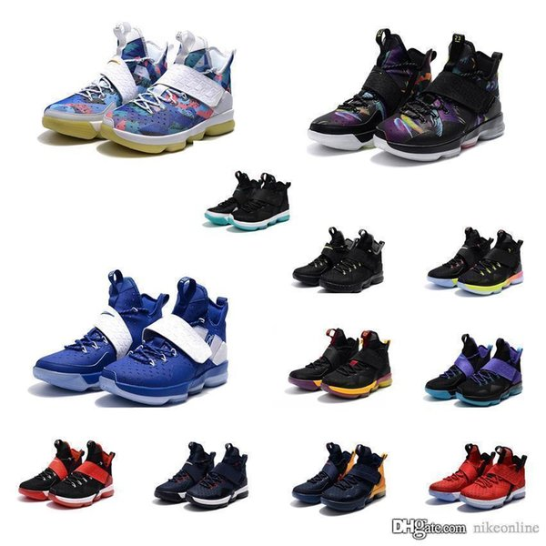 online retailer e6ee2 aa40c 2019 Cheap New Mens What The Lebron 14 Basketball Shoes Floral Flower Red  Cavs Black Blue MVP Multi Color Sneakers Boots For Sale With Box From ...
