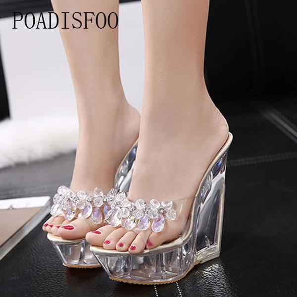 POADISFOO Glass Crystal Wedge Heel Slippers Summer Waterproof Clear Platform Non-slip Bottom Sexy Super High Heel Sandals LFD-126-55