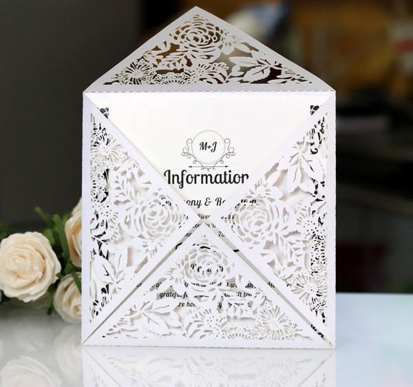 Tarjetas de invitación de boda de corte hueco Tarjetas de invitación de boda de impresión blanca sin sobre interior KKA7054