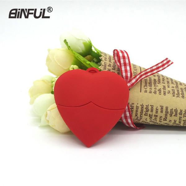 Heart-shaped Usb Red Bosom Pendrive 32gb 16gb 8gb 4gb 64gb Ustick Memory Flash Pen Drive For Love Girl Gift