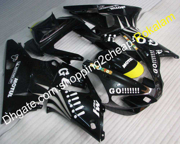 YZF-R1 00 01 Motorbike Black Cowling Parts For Yamaha R1 YZF YZF1000 2000 2001 YZFR1 Body Bodywork Fairing Fittings (Injection molding)