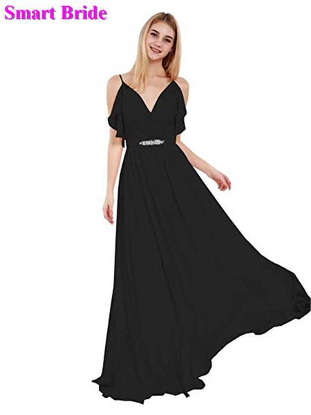 Şifon Gelinlik Modelleri A-line V Boyun Uzun Parti Aç Geri Lace Up Geri Konuk Elbiseler Backless Balo Elbisesi