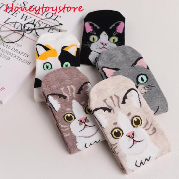 Fashion 3D Kawaii Cat Socks Women Funny Happy Cartoon Ankle Socks Animal Cute Socks For Winter Spring Girl Female Harajuku sock dhl shipping