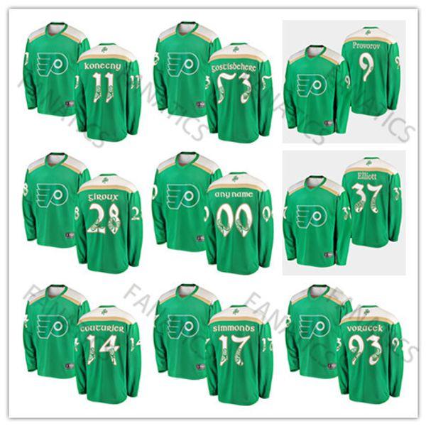 Día de San Patricio Philadelphia Flyers Hombres Mujeres Jóvenes Claude Giroux Jakub Voracek Shayne Gostisbehere Sean Couturier Jersey de corte de portero verde