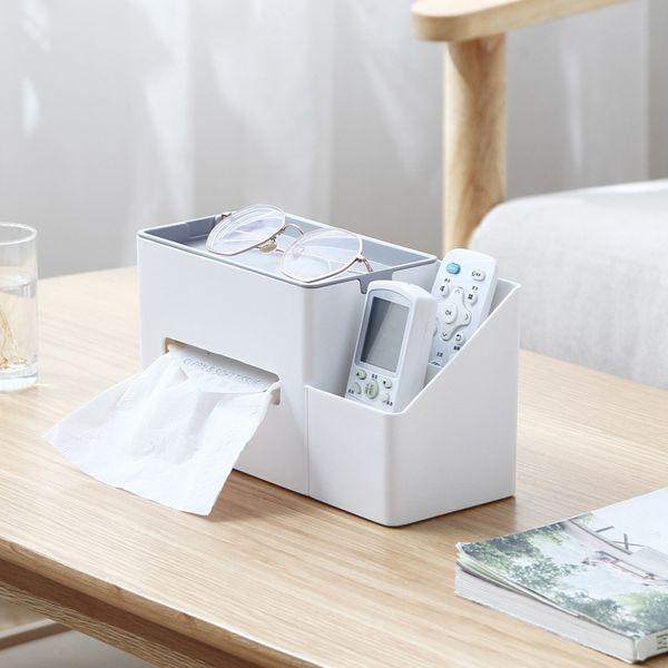 Kunststoff Tissue Box Multifunktionale Desktop-Speicher-Organisator-Fernbedienung Kosmetik-Briefpapier Sundries-Halter-Behälter