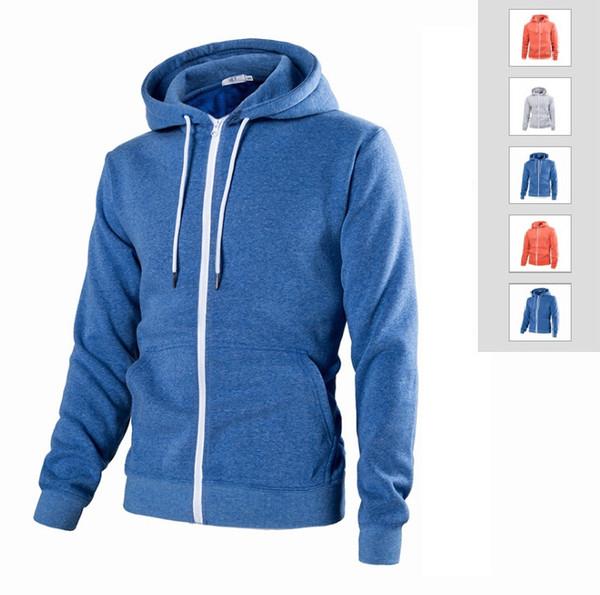 Automne 2018 Hommes Hoodies solides 3 couleurs Zipper Cardigan Manteau Casual Sweat à capuche pour homme manches longues Chandails de base