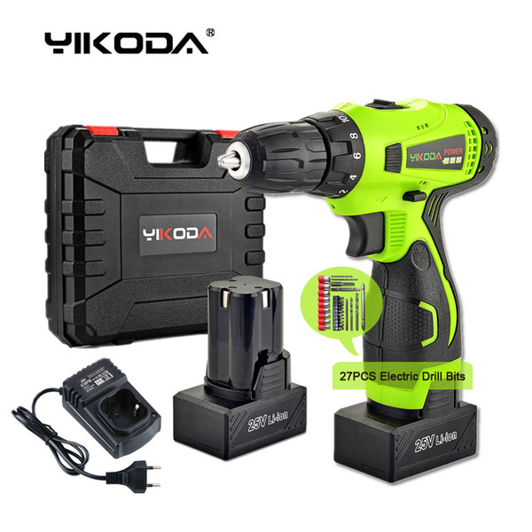 best selling 25V Cordless Drill Battery Electric Screwdriver Home DIY Room Decoration Rechargeable Drill Two Battery Plastic Case Plus Accessories