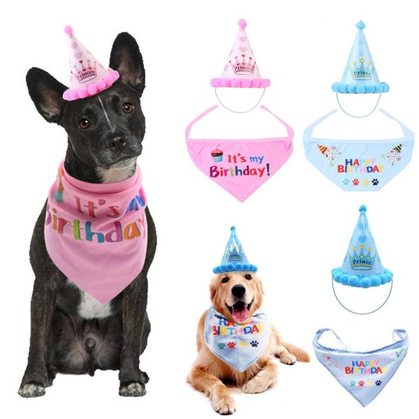 Pet Cat Dog Birthday Headwear Caps Hat Party Costume Headwear It is My Birthday Letter Print Pet Accessory For Party