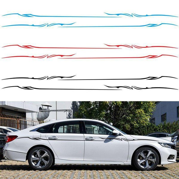 2Pcs Car Sticker Style Car Body Side Stripes Vinyl Graphics Sticker Decals Waterproof Auto Styling