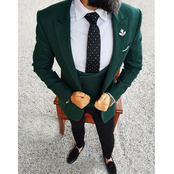 NEW Olive Green 3 Pieces Wool Tweed Men/'s Suit Slim Fit Jacket Vest Pants Custom