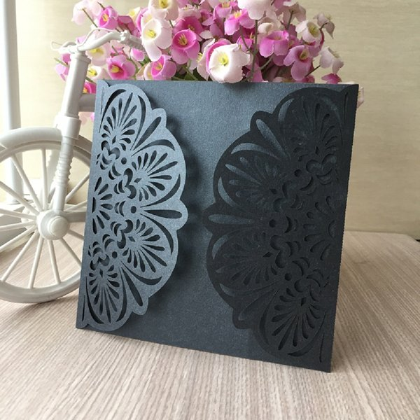 Hollow Big Flower Wedding Invitation Cards Engagement Sweet Ceremony With Bride And Groom Honey Life Blessing Cards Supplies 40th Wedding Anniversary