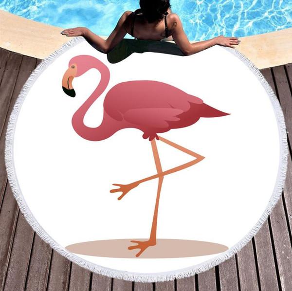 2019 Yeni Flamingo Tropikal Yapraklar Mikrofiber Yuvarlak Plaj Havlusu Battaniye 150 cm Yaz Kampı Yoga Mat Yüzme Banyosu Havlu Oturma odası Ev Dekor