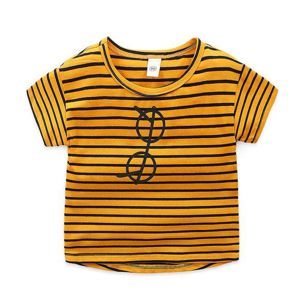 Cotton Striped Cartoon glass print boys t shirt O Neck short sleeves girls tops tees 2019 Toddler Fashion kids clothing