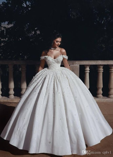 White Satin Off Shoulder Ball Gown Full Beads Vintage African Wedding Dresses Wedding Dresses Cheap Plus Size 2019 New Bridal Gowns H014