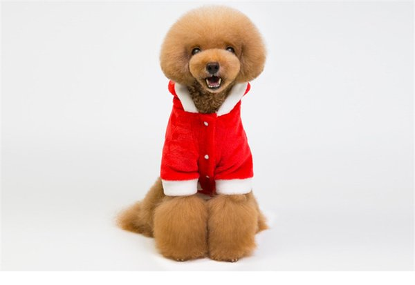 New Pet Christmas Clothes Novelty Tri-Glide Butttond Coral Down Dog Christmas Clothes Two-Legged Teddy Dog Apparel