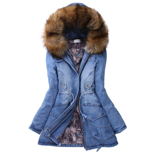 CHAMSGEND 2018 Haute Qualité Hiver Femmes Jeans Manteau Mince Long Et Chaud Veste D'hiver Col De Fourrure À Capuche Jeans Veste Denim Manteaux No9