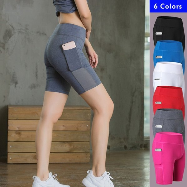 Women's Yoga Shorts Side Pockets Fitness Elastic Skinny Quick-drying Perspiration Legging Short Femme Deporte Mujer Running Plus #20959